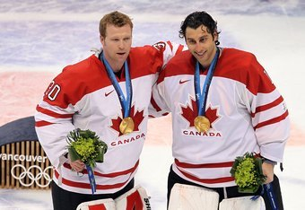 Martin Brodeur and Roberto Luongo with their 2010 Olympic Gold Medals