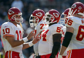 SAN DIEGO - OCTOBER 30:  Quarterback Trent Green #10 of the Kansas City Chiefs speaks to his offensive line during the first quarter against the San Diego Chargers at Qualcomm Stadium on October 30, 2005 in San Diego, California.  (Photo by Harry How/Gett