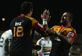 HAMILTON, NEW ZEALAND - MAY 14: Isaac Ross celebrates with Liam Messam of the Chiefs after winning the round 13 Super Rugby match between the Chiefs and the Stormers at Waikato Stadium on May 14, 2011 in Hamilton, New Zealand.  (Photo by Hannah Johnston/G