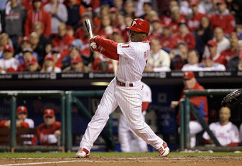 PHILADELPHIA, PA - OCTOBER 07:  Jimmy Rollins #11 of the Philadelphia Phillies bats against the St. Louis Cardinals during Game Five of the National League Divisional Series at Citizens Bank Park on October 7, 2011 in Philadelphia, Pennsylvania.  (Photo b