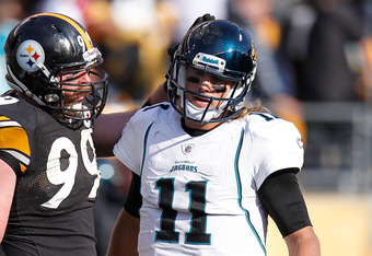 PITTSBURGH, PA - OCTOBER 16:  Blaine Gabbert #11 of the Jacksonville Jaguars reacts after losing 17-13 next to Brett Keisel #99 of the Pittsburgh Steelers at Heinz Field on October 16, 2011 in Pittsburgh, Pennsylvania.  (Photo by Gregory Shamus/Getty Imag