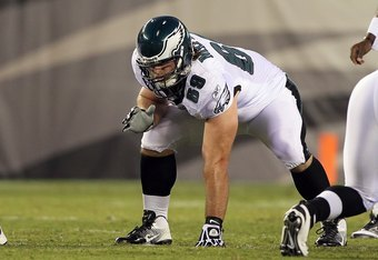 PHILADELPHIA, PA - AUGUST 11:  Evan Mathis #69 of the Philadelphia Eagles in action against the Baltimore Ravens during their pre season game on August 11, 2011 at Lincoln Financial Field in Philadelphia, Pennsylvania.  (Photo by Jim McIsaac/Getty Images)