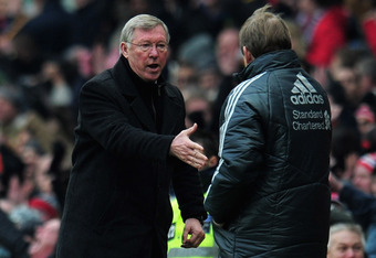 MANCHESTER, ENGLAND - FEBRUARY 11:  Sir Alex Ferguson, manager of Manchester United shakes hands with Kenny Dalglish, manager of Liverpool after the Barclays Premier League match between Manchester United and Liverpool at Old Trafford on February 11, 2012