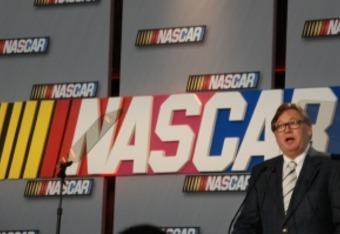 Robin Pemberton addresses media at the NASCAR Hall of Fame