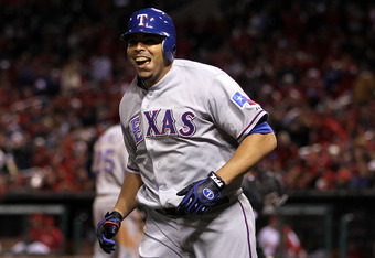 ST LOUIS, MO - OCTOBER 27:  Nelson Cruz #17 of the Texas Rangers celebrates after hitting a solo home run in the seventh inning during Game Six of the MLB World Series against the St. Louis Cardinals at Busch Stadium on October 27, 2011 in St Louis, Misso
