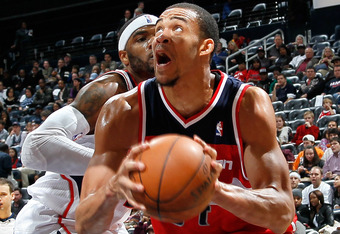 ATLANTA, GA - DECEMBER 28:  JaVale McGee #34 of the Washington Wizards against the Atlanta Hawks at Philips Arena on December 28, 2011 in Atlanta, Georgia.  NOTE TO USER: User expressly acknowledges and agrees that, by downloading and or using this photog