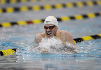 COLUMBIA, M0 - FEBRUARY 13:  Matthew Lowe swims in the Men's 200 Meter Breaststroke finals during day two of the Missouri Grand Prix on February 13, 2010 at the Mizzou Aquatic Center in Columbia, Missouri. (Photo by G. Newman Lowrance/Getty Images)