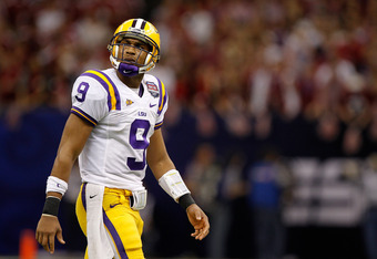 NEW ORLEANS, LA - JANUARY 09:  Jordan Jefferson #9 of the Louisiana State University Tigers walks off the field against the Alabama Crimson Tide during the 2012 Allstate BCS National Championship Game at Mercedes-Benz Superdome on January 9, 2012 in New O