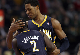 BOSTON, MA - JANUARY 06:  Danny Granger #33 of the Indiana Pacers congratulates Darren Collison #2 after Collison shot a 3-point shot late in the fourth quarter against the Boston Celtics on January 6, 2012 at TD Garden in Boston, Massachusetts. The India