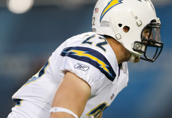 CHICAGO, IL - NOVEMBER 20: Jacob Hester #22 of the San Diego Chargers runs during the game against the Chicago Bears at Soldier Field on November 20, 2011 in Chicago, Illinois. (Photo by Scott Boehm/Getty Images)
