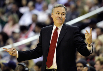 WASHINGTON, DC - JANUARY 06: Mike D'Antoni of the New York Knicks reacts to an officials call during the first half against the Washington Wizards at Verizon Center on January 6, 2012 in Washington, DC.  NOTE TO USER: User expressly acknowledges and agree