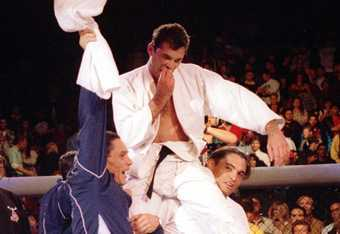 Royce Gracie celebrates at UFC 1