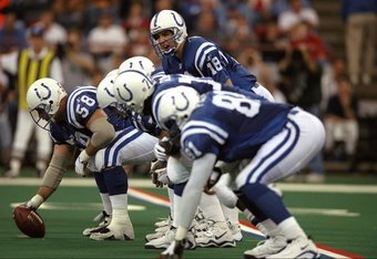 4 Oct 1998:  Quarterback Peyton Manning #18 of the Indianapolis Colts calls a play during a game against the San Diego Chargers at the RCA Dome in Indianapolis, Indiana. The Colts defeated the Chargers 17-12.