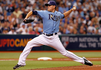 ST PETERSBURG, FL - OCTOBER 04:  Pitcher Matt Moore #55 of the Tampa Bay Rays pitches against the Texas Rangers during Game Four of the American League Division Series at Tropicana Field on October 4, 2011 in St. Petersburg, Florida.  (Photo by J. Meric/G