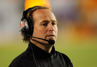 MIAMI GARDENS, FL - JANUARY 04:  Head coach Dana Holgorsen of the West Virginia Mountaineers looks on against the Clemson Tigers during the Discover Orange Bowl at Sun Life Stadium on January 4, 2012 in Miami Gardens, Florida.  (Photo by Streeter Lecka/Ge