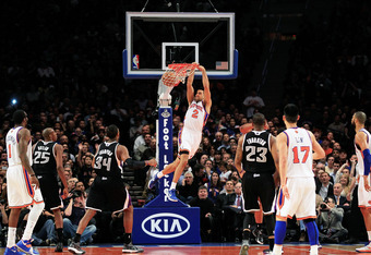 Lin connected with Landry fields on an impressive alley-oop in the first half.