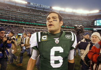 EAST RUTHERFORD, NJ - DECEMBER 24:  Mark Sanchez #6 of the New York Jets walks off the field after a game against the New York Giants at MetLife Stadium on December 24, 2011 in East Rutherford. New Jersey. The Giants won 29 - 14. (Photo by Rich Schultz/Ge