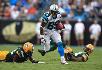 CHARLOTTE, NC - SEPTEMBER 18:  Steve Smith #89 of the Carolina Panthers against the Green Bay Packers during their game at Bank of America Stadium on September 18, 2011 in Charlotte, North Carolina.  (Photo by Streeter Lecka/Getty Images)