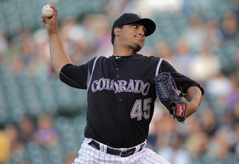 DENVER, CO - AUGUST 16:  Starting pitcher Jhoulys Chacin #45 of the Colorado Rockies delivers against the Florida Marlins at Coors Field on August 16, 2011 in Denver, Colorado. Chacin suffered the loss as the Marlins defeated the Rockies 6-5.  (Photo by D