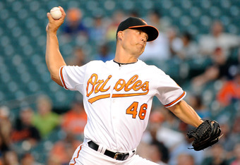 BALTIMORE, MD - AUGUST 30:  Jeremy Guthrie #46 of the Baltimore Orioles pitches against the Toronto Blue Jays at Oriole Park at Camden Yards on August 30, 2011 in Baltimore, Maryland.  (Photo by Greg Fiume/Getty Images)