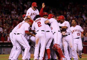 A walk's as good as a hit: The Angels won their Aug. 20, 2011 battle with the Baltimore Orioles after a Bobby Abreu sacrifice fly scored Vernon Wells. Wells had been forced to third base as the result of an Alberto Callaspo walk.
