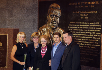 The Steinbrenner clan in front of George's plaque