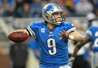 DETROIT, MI - DECEMBER 11:  Matthew Stafford #9 of the Detroit Lions drops back to pass during the game against the Minnesota Vikings at Ford Field on December 11, 2011 in Detroit, Michigan. The Lions defeated the Vikings 34-28.  (Photo by Leon Halip/Gett