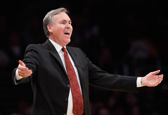 LOS ANGELES, CA - DECEMBER 29:  New York Knicks head coach Mike D'Antoni gestures during the second half against the Los Angeles Lakers at Staples Center on December 29, 2011 in Los Angeles, California. The Lakers defeated the Knicks 99-82. NOTE TO USER: