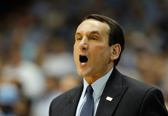 CHAPEL HILL, NC - FEBRUARY 08:  Head coach Mike Krzyzewski of the Duke Blue Devils yells to his team against the North Carolina Tar Heels during their game at the Dean Smith Center on February 8, 2012 in Chapel Hill, North Carolina.  (Photo by Streeter Le