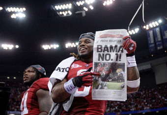NEW ORLEANS, LA - JANUARY 09:  Trent Richardson #3 of the Alabama Crimson Tide celebrates after defeating Louisiana State University Tigers in the 2012 Allstate BCS National Championship Game at Mercedes-Benz Superdome on January 9, 2012 in New Orleans, L