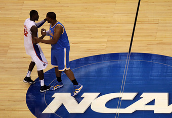 TAMPA, FL - MARCH 19:  Vernon Macklin #32 of the Florida Gators greets Joshua Smith #34 of the UCLA Bruins prior to their game during the third round of the 2011 NCAA men's basketball tournament at St. Pete Times Forum on March 19, 2011 in Tampa, Florida.