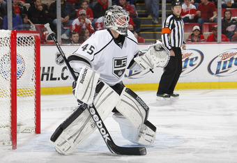 DETROIT, MI - DECEMBER 17:  Jonathan Bernier #45 of the Los Angeles Kings keeps an eye on play against the Detroit Red Wings during their NHL game at Joe Louis Arena on December 17, 2011 in Detroit, Michigan.  (Photo by Dave Sandford /Getty Images)