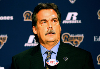 EARTH CITY, MO - JANUARY 17: New head coach Jeff Fisher of the St. Louis Rams addresses the media during a press conference at the Russell Training Center on January 17, 2012 in Earth City, Missouri.  (Photo by Dilip Vishwanat/Getty Images)