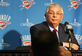 OKLAHOMA CITY, OK -DECEMBER 25:  NBA Commissioner David Stern listens to a reporter's question before the Orlando Magic versus the Oklahoma City Thunder season opening game December 25, 2011 at the Chesapeake Energy Arena in Oklahoma City, Oklahoma.  Okla