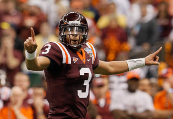 NEW ORLEANS, LA - JANUARY 03:  Logan Thomas #3 of the Virginia Tech Hokies reacts against the Michigan Wolverines during the Allstate Sugar Bowl at Mercedes-Benz Superdome on January 3, 2012 in New Orleans, Louisiana.  (Photo by Kevin C. Cox/Getty Images)