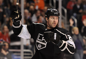 LOS ANGELES, CA - DECEMBER 03:  Dustin Penner #25 of the Los Angeles Kings celebrates his goal against the Montreal Canadiens to trail 2-1 during the second period at Staples Center on December 3, 2011 in Los Angeles, California.  (Photo by Harry How/Gett