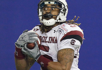 ATLANTA, GA - DECEMBER 31:  Stephon Gilmore #5 of the South Carolina Gamecocks against the Florida State Seminoles during the 2010 Chick-fil-A Bowl at Georgia Dome on December 31, 2010 in Atlanta, Georgia.  (Photo by Kevin C. Cox/Getty Images)