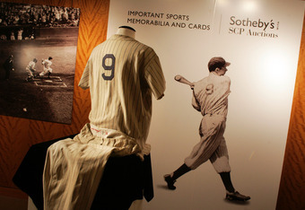 NEW YORK - DECEMBER 5:  Joe DiMaggio's 1936 rookie Yankee home uniform is displayed during an auction preview at Sotheby's December 5, 2005 in New York City. The uniform, which was hidden away for almost 70 years, is estimated to sell for more than $600,0