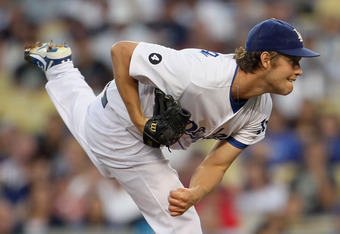 LOS ANGELES, CA - AUGUST 13:  Clayton Kershaw #22 of the Los Angeles Dodgers follows through on a pitch against the Houston Astros at Dodger Stadium on August 13, 2011 in Los Angeles, California.  (Photo by Jeff Gross/Getty Images)