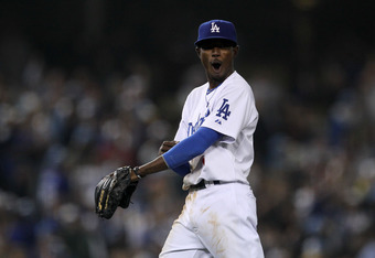 LOS ANGELES, CA - SEPTEMBER 20:  Shortstop Dee Gordon #9 of the Los Angeles Dodgers reacts after turning a game ending double play in the ninth inning against the San Francisco Giants on September 20, 2011 at Dodger Stadium in Los Angeles, California. The