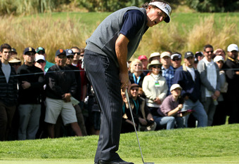PACIFIC PALISADES, CA - FEBRUARY 19:  Phil Mickelson reacts to a missed birdie putt attempt on the fourth hole during the final round of the Northern Trust Open at Riviera Country Club on February 19, 2012 in Pacific Palisades, California.  (Photo by Step