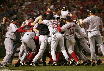 The 2004 Red Sox squad celebrating its first championship in 86 years.  Wakefield experienced every high and low associated with playing the game.