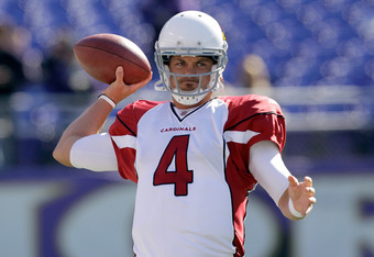 BALTIMORE, MD - OCTOBER 30:  Kevin Kolb #4 of the Arizona Cardinals warms up before the start of the Cardinals game against the Baltimore Ravens at M&T Bank Stadium on October 30, 2011 in Baltimore, Maryland. The Baltimore won 30-27.  (Photo by Rob Carr/G
