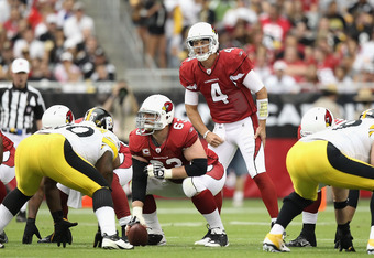 GLENDALE, AZ - OCTOBER 23:  Quarterback Kevin Kolb #4 of the Arizona Cardinals during the NFL game against the Pittsburgh Steelers at the University of Phoenix Stadium on October 23, 2011 in Glendale, Arizona. The Steelers defeated the Cardinals 32-20.  (