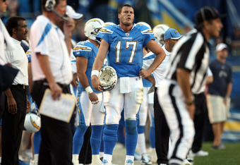 SAN DIEGO, CA - NOVEMBER 27:  Quarterback Philip Rivers #17 of  the San Diego Chargers looks on from the sidelines after having to kick the ball to the Denver Broncos during their NFL Game on November 27, 2011 at Qualcomm Stadium in San Diego, California.