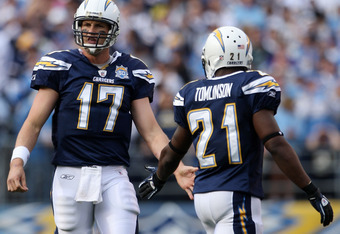 SAN DIEGO - JANUARY 17:  Quarterback Philip Rivers #17 and running back LaDainian Tomlinson of the San Diego Chargers celebrate a play against the New York Jets during the AFC Divisional Playoff Game at Qualcomm Stadium on January 17, 2010 in San Diego, C