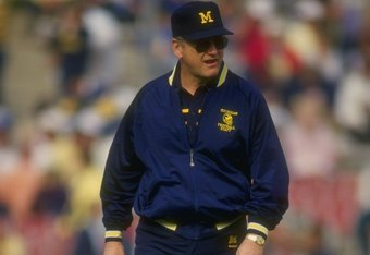 1 Jan 1987: Head coach Bo Schembechler of Michigan during their 22-15 loss to Arizona State at the Rose Bowl in Pasadena, California. Mandatory Credit: Rick Stewart  /Allsport