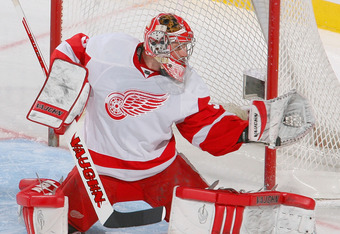 BUFFALO, NY - FEBRUARY 26:  Joey MacDonald #31 of the Detroit Red Wings makes a save against  the Buffalo Sabres  at HSBC Arena on February 26, 2011 in Buffalo, New York. Detroit won 3-2 in a shootout.  (Photo by Rick Stewart/Getty Images)