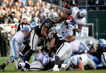 The Detroit Lions offensive line was next-to-last in the league in run blocking in 2011