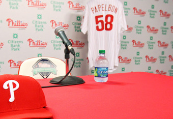 PHILADELPHIA, PA - NOVEMBER 14:  A look at the stage just before Jonathan Papelbon of the Philadelphia Phillies arrived to discuss his four-year, $50,000,058 contract, at Citizens Bank Park on November 14, 2011 in Philadelphia, Pennsylvania.  (Photo by Le